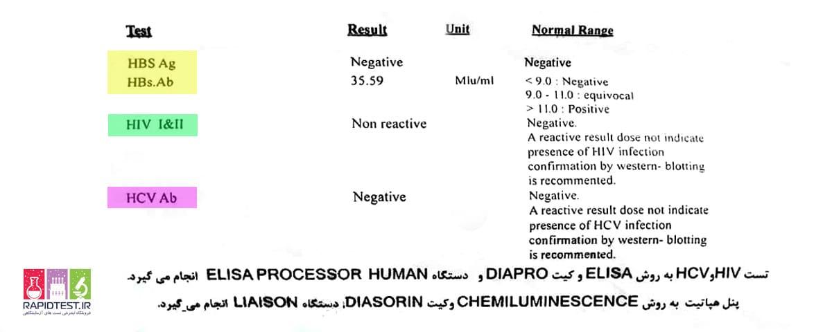 جواب آزمایش هپاتیت